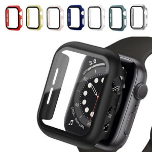 Full Glass Protector Case Cover 44/42/40/38mm For Apple Watch Series 6 5 4 3 2 1