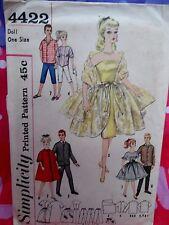 """Simplicity Pattern#4422,Vintage Barbie& Ken Doll Clothes,11.5""""Dolls,Babette"""