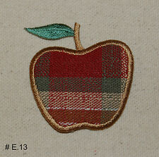1PC~APPLE PLAID FABRIC~IRON ON EMBROIDERED APPLIQUE