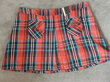Ladies Mini Skirt Tartan Check Red Black Blue Short BNWT Grunge Emo Punk 16