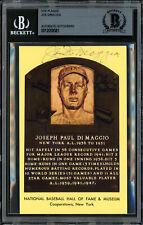 Joe DiMaggio Autographed Signed HOF Plaque Postcard Yankees Beckett 12059081