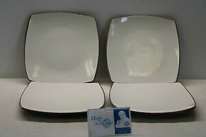 """Set of 4 Gibson Home Soho Lounge Plates - Brown & Cream - 7 3/8"""" square"""