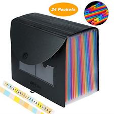 24 Pockets Expanding File Folder High Capacity Plastic Paper Document Organizer