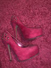 Worn Pink Spike Platform Heels Size 4