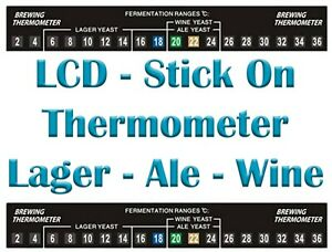 LCD Stick On Thermometer 2C TO 36C Temperature Range- Homebrew Beer Wine Spirits
