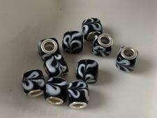European Beads schwarz gemustert Anhänger Glas Lampwork 10x12 mm  1 Stück B57