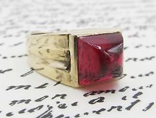 Vintage Synthetic Ruby Mens Ring 10k Yellow Gold Retro