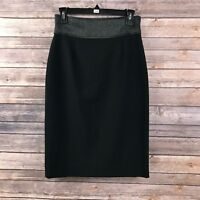 Classiques Entier Women's Career Black Wool Blend Straight Pencil Skirt Size 4