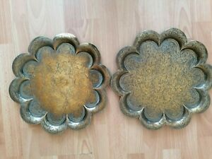 ANTIQUE PERSIAN HEAVY BRASS WALL PLAQUES HAND ENGRAVED PAIR