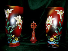 """Pr 11-3/4"""" Victorian Hand Painted Bristol Glass Lily Daisy Mountain Scene Vases"""