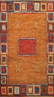6x8 Geometric Modern Moroccan Oriental Area Rug Hand-knotted Orange Wool Carpet