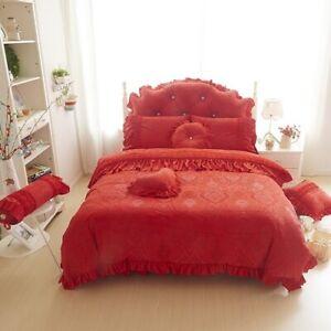 4/6pcs Princess Style Velvet Bedding Sets Cotton Bed Linens Lace Cover Bed Skirt