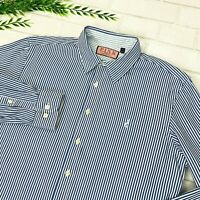 Thomas Pink Casual Blue White Stripe Long Sleeve Cotton Button Shirt Mens M