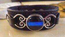 POLICE BLUE LINE snap button genuine black leather bracelet Gifts women
