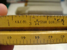 Vintage TRIANGULAR RULER: early wooden K & E 8893 scales in description