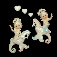 Vintage Lefton MERMAID SISTER WALL PLAQUES riding SEAHORSES