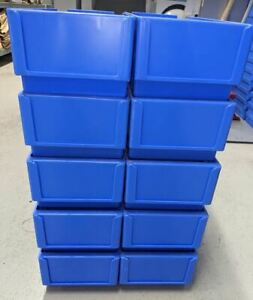 10 Plastic Stacking Storage Bins 400 x 165 x 115mm Heavy Duty Hardly Used