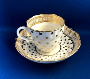 ANTIQUE 18THC  RARE  CAUGHLEY COFFEE CUP & SAUCERS WITH GILT DOTS C1785