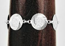 Silver Aztec Mayan Mask Calendar Sparkle Cut Bracelet Taxco Mexico