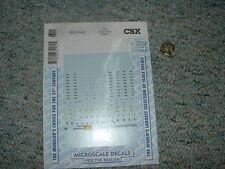 Microscale decals HO MC-4162 CSX Diesel data 1990+  E31