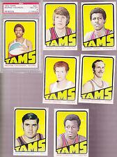 1972 /  73 Topps ABA Team SET Lot of 7 Memphis TAMS NM- w/ PSA 8 THOMPSON DENTON