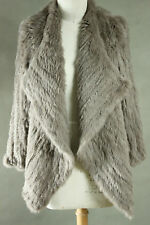 NEW 100% RABBIT FUR WATERFALL LONG SLEEVE JACKET TAUPE FREE SIZE