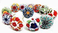 12 x Mix Vintage Look Flower Ceramic Knobs Door Handle Cabinet Drawer Cupboard P