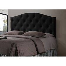 Full Size Black Faux Leather Upholstered Button-Tufted Scalloped Headboard