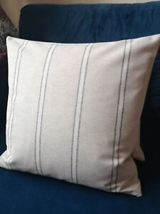 "17x17"" French Vintage linen look dark grey cream stripes striped cushion cover"