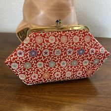 Vintage Clutch Purse Bag Make Up Case Kiss Clasp Red Satin Stars Small