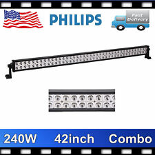 42inch 240W Philips Led Work Flood Spot Light Bar Driving Offroad ATV Slim 40/44