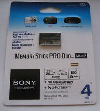 Cartes mémoire Sony en memory stick PRO duo pour appareil photo et caméscope