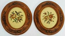Vintage Oak Hand Carved Large Oval Picture Frames Needlepoint Roses 14 X 12