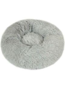 Donut Pet Bed Round Cushion Marshmellow Faux Fur Cuddler, Calming Fluffy