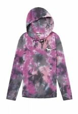 Victoria's Secret Pink Crossover Pullover Hoodie Tunic NWT Tie Dye Purple Small