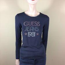 GUESS Jeans Femmes Shirt S 36 38 8 bleu manches longues paillettes strass 80er Disco Style
