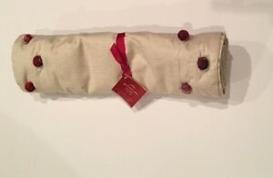 """NEW Pottery Barn Christmas Holiday Red Plaid Pom Pom Table Runner 18""""x108"""""""