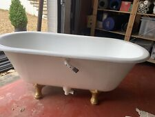 vintage cast iron roll top bath, with Polished Brass Taps