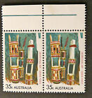 1971 Australian Stamps - Aboriginal Art - Grave Posts - Double with Tabs MNH