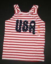 Nuovo Gymboree Rosso Gessato Bianco Fourth Of July USA T-Shirt Canotta Maglia 2T