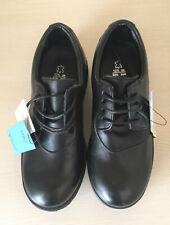 Boys M&S Size 13 1/2 Black Leather School Shoes Freshfeet + Insolia Flex Bnwt