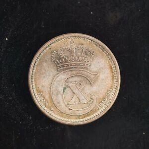 💎 1919 Silver Denmark 10 Ore XF Coin