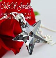 925 Silver Necklace Pendant Crystals from Swarovski® * STAR * 28mm SILVER NIGHT