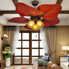 "44"" Retro Fan Blade Bedroom Living Room Cafe Loft Ceiling Fan Remote Control"