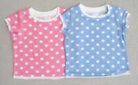BNWOTS Baby Girls 2 Pack Pastel Pink Blue White Spotted T-Shirts Tops 6-9 months