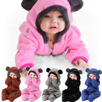 Infant Toddler Kids Girl Boy Cartoon Ears Hoodie Romper Zip Clothes Jumpsuit NEW