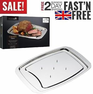 Stainless Steel Spiked Roast Chicken Carving Dish Tray Board Turkey Meat Poultry