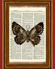 Steampunk Butterfly Dictionary Art Print Gothic Victorian Picture Gear