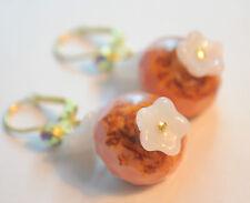 Vintage Raw Brass Earrings Art Nouveau Pink Flowers  Czech Glass Handmade