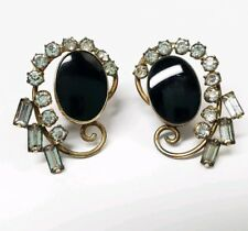 Vintage Carl Art 12K Gold Filled GF Earrings Black Onyx Rhinestone Screw Back